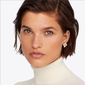 Tory Burch NWT Rope Clover Pearl Stud Earrings